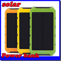 Wholesale free shipping solar power bank online - Hot mAh Power Bank Ultra thin Waterproof Solar Power Banks A Output Cell Phone Portable Charger Solar Powerbank
