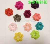 Wholesale Accesories Girls Headband - 2015 free shipping 10 pic lot cotton knitted flowers as baby girl hair decoration accessories crochet headbands girl accesories