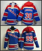 Wholesale Double Fleece - Double stitched Youth ny New York Rangers #30 Henrik Lundqvist 99 Wayne Gretzky kids Fleece Hoody Old Time Hockey Hoodies Sweatshirts