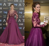 Wholesale Personalized Crystal Photo - 2015 Evening Dresses Zuhair Murad Burgundy Long Sleeves Sheer Back A Line Taffeta Sash Custom Made Evening Gowns Celebrity Dress Personalize