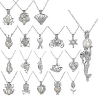 Wholesale Diy Pearl Necklace Jewelry Charms - 19 Style Oyster pearl Pendant Necklace Cages Locket Hollow Out Love Wish Pearl Necklace Freshwater Pearl Shark Mermaid Flower DIY jewelry