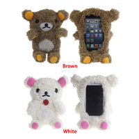 "Wholesale Plush Phone Case Bear - Brand New Winter Warm Lovely 3D Teddy Bear Doll Toy Plush Soft phone Cover For iphone 4s 5s 6 4.7"" For samsung S3 S4 Brown coverring Case"