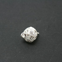 Wholesale Magnetic Clasp 19mm - 20pcs lot Silver Magnetic Clasps with Rhinestone 12*19mm for Necklace DH-FKC013-70