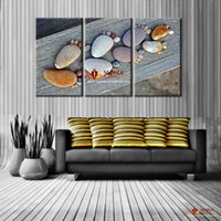 More Panel paint stone wall - 3 canvas wall art stone footprint decoration pieces for living room canvas paintings cheap modern wall decor print on canvas