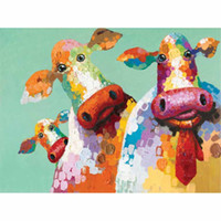 Wholesale painted cow - Cartoon Animal Hand-painted Bull Cow Oil Painting on Canvas Mural Drawing Art Home Office Wall Decoration
