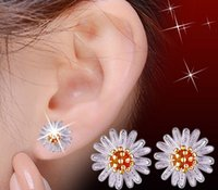 Wholesale Little Korean Jewelry - Korean fashion Cute little Daisy Earrings sunflower 925 Sterling Silver Jewelry Pendant Silver Earrings