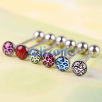 Wholesale Leopard Print Tongue Rings - 6Pcs Mixed Color Leopard Print Tongue Lip Ring Bar Stud Body Piercing Jewelry #43955