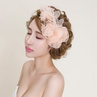 Wholesale stocking flowers making for wedding for sale - Group buy 2016 Blus Wedding Hair Flowers Cheap Modest Hair Accessories For Bridal Fashion Hand Made Flower Cheap Modest In Stock Sexy