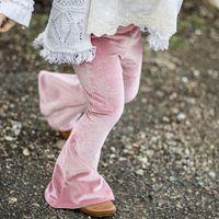 calças para crianças venda por atacado-2019 Ins Girl's Bell-bottom Calças Leggings para menina Pleuche Crianças Calças Calças Sólida vinho tinto Magro Calças Primavera Outono 1-5 anos