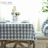 Wholesale Style Bugaboo - New! Original zakka Japanese style table cloth tablecloths coffee table Bubu arts Bugaboo denim blue plaid # 18
