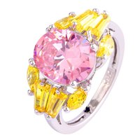 Wholesale Pink Citrine Rings - Wholesale New Jewelry Fashion Women's Pink Sapphire & Citrine 925 Silver Ring Size 7 Bridal Wedding Engagement Free Shipping