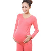Wholesale Thermal Underwear Set Women - Wholesale- Spring Autumn Pregnant Clothing Set Women Maternity Leggings Shirt Pink Soft Elastic Thermal Warm Underwear Long Johns