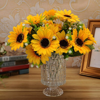 Wholesale Wholesale Artificial Flower Table Decoration - Sweet Artificial Flower 1 Bunch 7 Heads Silk Flower Sunflowers Table Party Decoration Home Decor Bouquet JM0065 Free Shipping