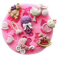 Wholesale Chocolate Baby Molds - New!Baby Shower Party Fondant Molds Silicone Cake Mold Soap Moulds Sugar Craft Tools Bakeware Chocolate Mould IA992 W0.5