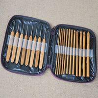 Wholesale Tools Weave Bamboo - 20pcs set Bamboo Crochet Hooks Knitting Weave Needles Set with Case DIY Knitting Hand Tool ZA5543