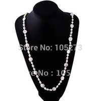 Wholesale Long Baroque Freshwater Pearl Necklace - Wholesale-Stunning!Pearl necklace AA 7-14MM White color Genuine Freshwater pearl Baroque shaper 36''inch long necklace Free shipping