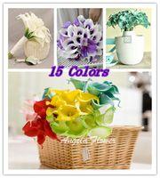 Wholesale Wholesale Calla Lily Silk Flowers - 300PCS lot Best Sale Real Touch Artificial Flower silk flower Romantic Wedding Party Calla Lily flower bouquet For Home Decorition
