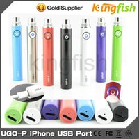 Wholesale Electronic Cigarette Apple - 650mah ugo p Electronic Cigarette Battery EVOD ugo-p battery for iphone port ego battery Apple button USB passthrough with 510 Thread