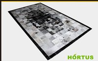 Wholesale Handmade Rugs Carpets - Free shipping 1 piece 100% natural colors and genuine leather furs carpet handmade rug cowhide mat leather white rug