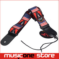 Wholesale Genuine Leather Guitar Strap - 5pcs New American USA Flag Print Genuine Leather Ends Adjustable Acoustic Guitar Strap Bass with Pick Holder MU0387