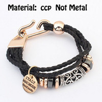 Wholesale Wholesale Plastic Jewerly - CCP Leather Wrapped Charms Bracelets Coffee And Yellow Bending Tube Coin Pendants Braided Bangles For Women Organza Jewerly Bags Free