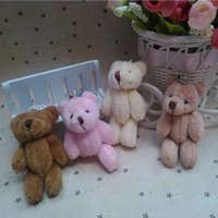 Wholesale Stuffed Animals Wedding Bears - 25pcs lot Mini Joint Teddy Bear plush toys with chain gummy bears 8cm animal for Wedding peluches stuffed bicho ursinho de pelucia