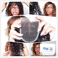 """Wholesale Healthy Sexy Hair - Top Quality 12""""-18"""" Sexy Buncy Soft Curly Hair Lace Hair Closure Piece (4x4"""") Brazilian Virgin Hair Natural Color Healthy ends Free Shipping"""