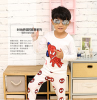 spiderman pants for men - Boys Long Sleeve Pajamas Sets Cartoon Spider man Printed Full Cloth Suits For Children Spiderman Mask Full Pants Shirt Pants Set CR121