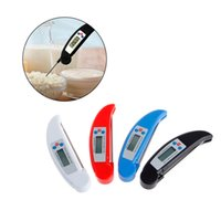 Wholesale Wholesale Kitchen Timers - Folding Probe Barbecue Thermometer Kitchen Oven Cooking Food Electronic Probe Thermometer Barbecue Meat Baking Thermometers 100pcs OOA3465