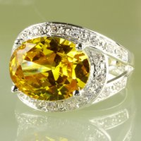 Wholesale rhinestone rings yellow gold resale online - 2020 Women A0031 Bridal Party Jewelry Rings x16mm Rhinestone Oval Cut Gold Topaz Gemstone K Platinum Plated Ring Size