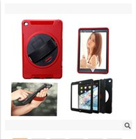 Wholesale Ipad Silicone Protector Cover - For iPad 3 4 5 6 Mini air With Stand Holder Wristband leather Case Cover Hybrid PC Silicone Robot Shockproof Heavy Duty Mirror Protector
