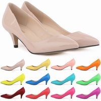 Wholesale Women Sexy Kitten Low Pumps - LOSLANDIFEN Classic Sexy Pointed Low Med Kitten Heels Women Shoes Spring Brand Design Wedding Shoes Pumps Big Size 35-42 678-1PA