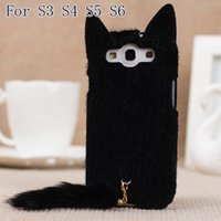 Wholesale cute s4 cases - Wholesale-Korean 3D Cute Plush S3 S4 S5 S6 Cat Ear Tail Case Cover For Samsung Galaxy S3 i9300 S4 S5 S6 Black White Pink Rose Colors Case