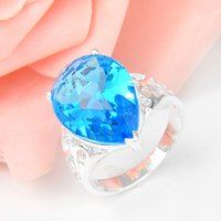 Wholesale Drop Shape Ring - 2015 Real Rushed Cluster Rings 8 Wedding Rings 5pcs lot Drop Shaped Sky Blue Topaz Gemstone 925 Sterling Silver Ring Wedding Jewelry Gift