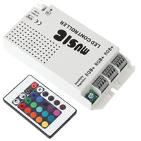 Wholesale Current Shipping - Free shipping NEW IR Remote RGB LED Lighting Music Controller DC12V-24V 3 Channels Max 9A Output Current Common Anode