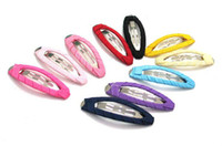 Wholesale Diy Hair Clips Covers - 48mm DIY Accessory Fully Covered Snap girls baby Grosgrain Ribbon bow Headwear Clips 100pc