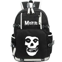 Wholesale Music School Bag - The misfits backpack Hard punk daypack Rock band schoolbag Music rucksack Sport school bag Outdoor day pack