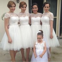 Wholesale Evening Gown Bridesmaid Knee Length - Short Bateau Neck Short Bridesmaid Dresses 2017 White Lace A-Line Knee-length Tulle Maid Of Honor Dress Short Evening Gowns