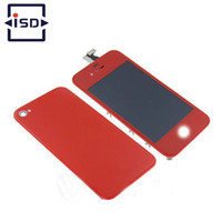 Wholesale Digitizer Touch Screen 4s Back - Wholesale-Red Colorful LCD Display&Touch Screen Digitizer&Home Button&Back Cover Mix Color For iPhone 4 CDMA 4S with tools free