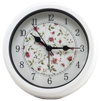 Wholesale Flower Wall Clocks - Small Round Wall Clock Home Decor Mute Clock No-ticking Simple Design Table Clock Flower and Bird Alarm Clock