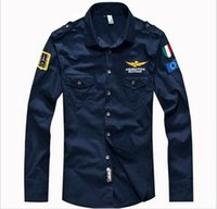 Wholesale Air Breast - New men's spring Aeronautica militare Air Force One shirt,men brand bomber long sleeve shirts,men's causal Embroidery shirt hight quality f