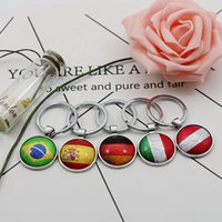 Wholesale Flags Cup - Football Keychains World Cup 32 Teams Glass Cabochon Soccer Car Keyholder Bag Accessories Russia 2018 Country Flags Keyings Wholesale