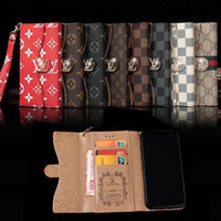 Wholesale apple holster - Luxury brand flip wallet case PU leather phone holster for iphone X 7 7plus 8 8plus card slot hand rope for iphone 6 6S 6plus