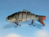 Minnow lure for bass Цены-Multi-jointed Lifelike 6 секций Swimbait Bass Fishing Lure 10cm / 18g Minnow Crankbait Hard Bait Fish Hook Fly Рыбалка Снасти