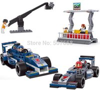 Cheap 20sets lot F1 3D construction eductional Bricks Building Blocks Sets Formula One racing Blue Racing B0355 300pcs