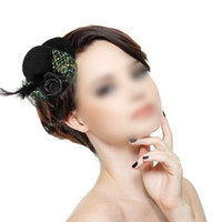 Wholesale Black Hair Flower Clip - Wholesale-COFA,Feather Hair Clip Flower Bow Black Mini Top Hat Party Lolita Cosplay Goth