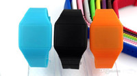 Wholesale Square Silicon Watches - 14 colors silicon Led Touch watches sports watches Jelly Candy silicon digital wrist watch unisex watches casual watch 10pcs free ship