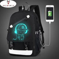 Wholesale Character Usb - Raged Sheep Boys School Backpack Student Luminous Animation USB Charge Changeover Joint School Bags Teenager anti-theft backpack