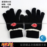 Wholesale Naruto Fingerless Gloves - Wholesale-Anime Naruto Akatsuki Member Red Cloud symbol Full finger Plush knit gloves winter warm handschoenen Free shipping