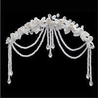 Wholesale Pearl Frontlet - Wedding Bridal Hair Band Accessory Pearl Hairpiece Flower Hair headband Tassel Frontlet Crystals Beads with White Wedding Bridal Fashion